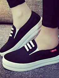 Zapatos de mujer - Plataforma - Plataforma / Comfort / Punta Redonda - Sneakers a la Moda - Exterior / Casual - Tejido - Negro / Blanco