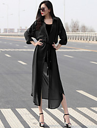Women's ¾ Sleeve Chiffon Trench Coat , Vintage/Casual
