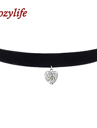 "Cozylife 3/8"" Womens Girls Black Velvet Gothic Collar Vintage Choker Necklace with S925 Sterling CZ Diamond Pendant"