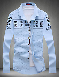 Men's Korean Fashion Letter Print Slim Long-Sleeve Shirt