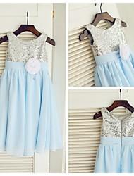 A-line Tea-length Flower Girl Dress - Chiffon/Sequined Sleeveless