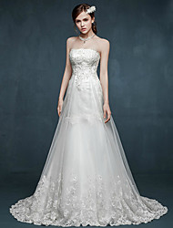 A-line Wedding Dress Lacy Look Sweep / Brush Train Strapless Tulle with Appliques Beading