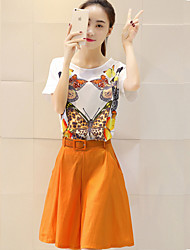 Women's Orange Set , Casual Short Sleeve