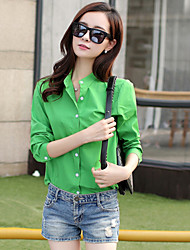Women's Vintage Sexy Casual Cute Work Long Sleeve Shirt , Cotton Blends Blue Red White Black Green