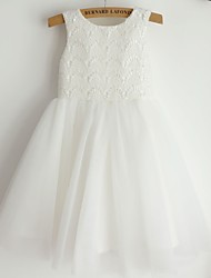 Princess Knee Length Flower Girl Dress - Lace Satin Tulle Sleeveless Scoop Neck with Lace