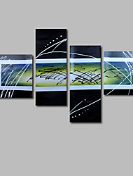 Hand-Painted Oil Painting on Canvas Wall Art Abstract Contempory Black White Four Panel Ready to Hang