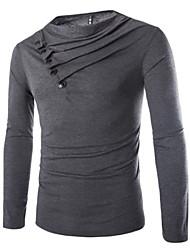 Camisetas ( Algodón/Algodón Compuesto )- Casual Chal Manga Larga para Hombre