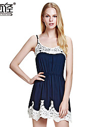 Women's Fashion Floral Lace Patchwork Spaghetti Strap Sexy Mini Dress
