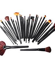 32pcs pro brosse cosmétique de maquillage outil kit avec roll up sac noir de cas réglé