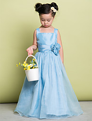 A-line Floor-length Flower Girl Dress - Organza Straps with Flower(s)