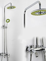 Bathroom Wall Mounted Single Handle Rain Shower Faucet Set with 8 Inch ABS Colorful Head Shower and Hand Shower