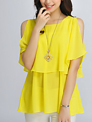 Women's Solid Black/Yellow Blouse , Round Neck ½ Length Sleeve Layered