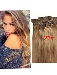 "16""-28""Unprocessed Straight Hair Brazilian Human Hair 7pcs/pack 100g Virgin Clip In Hair Extensions"