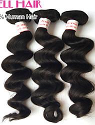 """4pcs lotto 8 """"-30"""" capelli vergini peruviani onda allentata dei capelli umani il nero naturale fasci non trasformati"""