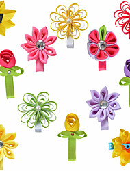 12 Pcs Kanzashi Sunflower Rose Loop Bow Combination Grosgrain Ribbon Hair Bows Clips Hairbows Allige Clip Handwear AC025