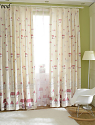 (One Panel) Grommet Top Polyester Cotton Blend Funny Soft Fairy Tale Cottage Children Room Fabric Curtain