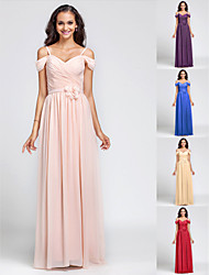 Bridesmaid Dress Floor Length Chiffon Sheath Column Off the Shoulder Dress