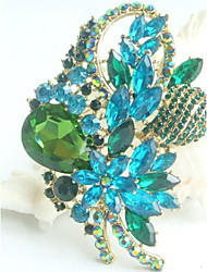 Gorgeous 3.35 Inch Gold-tone Turquoise Green Rhinestone Crystal Flower Brooch Art Deco