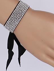 Vilam® Colorful Ribbon Rhinestone Row Shining Adjustable Ribbon Fastener Thick 3cm Bracelet
