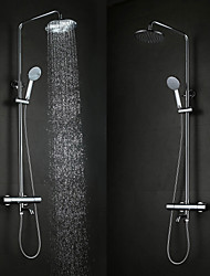 Contemporary Fashion Wall Hanging Type Brass Chrome 38 ℃ Smart Thermostatic Shower Faucets Set - Silver