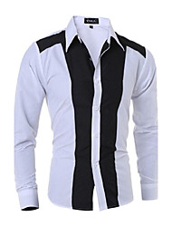 Men's Color Block Casual Shirt,Cotton Long Sleeve Black / White