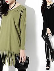 Women's Round Rivet/Tassel T-Shirts , Organic Cotton/Rayon Casual/Work Long Sleeve Phylomeya