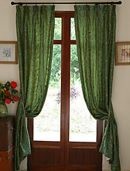 Two Panels Rose Garden Embroidery Panel Curtains Drapes Green