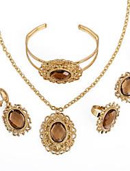 WesternRain Women's Rhinestone Gold-plated Set