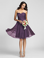 Lanting Bride Knee-length Chiffon Bridesmaid Dress A-line Sweetheart Plus Size / Petite with Criss Cross / Ruching