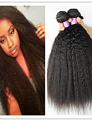 3Pcs/Lot Kinky Straight Hair Weave Virgin Brazilian Human Hair Coarse Yaki Virgin Hair Extension Hair Bundles Free Ship