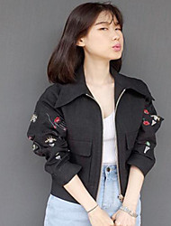 Women's Casual Denim Jacket , Short Sleeve Midi