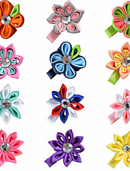 12 Pcs Hair Bows Kanzashi Grossgrain Ribbon Flower Boutique Hair Clips Hairbows Clips Accessories Headwear AC012