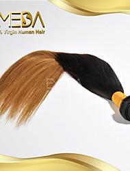 buena mongol virginal de seda del pelo humano del pelo ombre barata recta teje 2 tono 1b / 27 color 1pcs solamente 8 '' - 30 ''