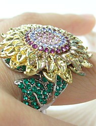 Gorgeous Green Purple Rhinestone Crystal Sunflower Cocktail Ring Women Jewelry