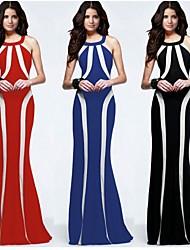 Tan si    Women's Round Ruffle Dresses , Cotton Sexy/Bodycon/Print/Party Sleeveless Tan si
