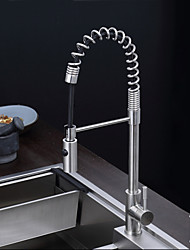 Kitchen Faucet Contemporary Pullout Spray Stainless Steel Spring Kitchen Faucet