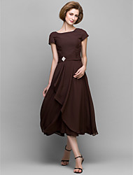 Lanting Bride A-line Mother of the Bride Dress Tea-length Short Sleeve Chiffon with Crystal Detailing / Side Draping