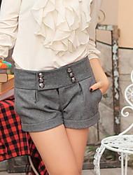 De las mujeres Pantalones Cortos - Casual Microelástico - Piel