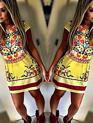 Aifei Women's Print Multi-color Dresses , Sexy / Beach / Casual Round Short Sleeve