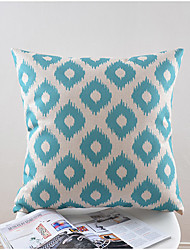 Light Blue Pattern Cotton/Linen Decorative Pillow Cover