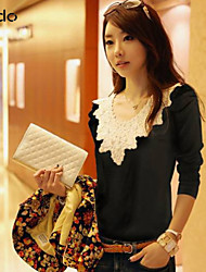 Women's Casual/Daily Simple Fall T-shirt,Color Block Long Sleeve White / Black Cotton Medium