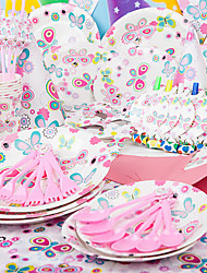 Pink Princess Birthday Party Tableware Decoration Kit Supply for Girl Kids (Set of 90)