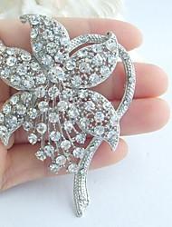 Wedding 3.15 Inch Silver-tone Clear Rhinestone Crystal Flower Bridal Brooch Art Deco