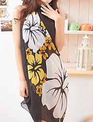 Women's Black Yellow Flower Chiffon Beach Towel