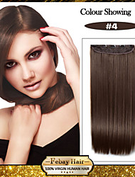 5 Clips Long Straight Brown Synthetic Hair Clip In Hair Extensions For Ladies
