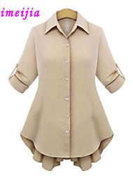WeiMeiJia®Women's Shirt Collar Ruffle Blouse , Others Long Sleeve