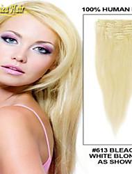 goedkope indian virgin remy human hair 7pieces 100g pak clip in op de menselijke hair extensions lichtste blonde kleur