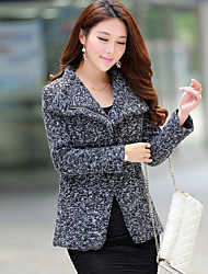 Women's Split Coats & Jackets , Nylon Bodycon/Casual Long Sleeve B.L.S