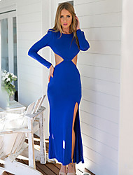 Women's  Sexy Hollow Out/Backless Split Dress , Maxi Long Sleeve