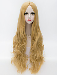 80cm Long Loose Wavy U Part Hair Golden Yellow European Style Fashion Party Wig